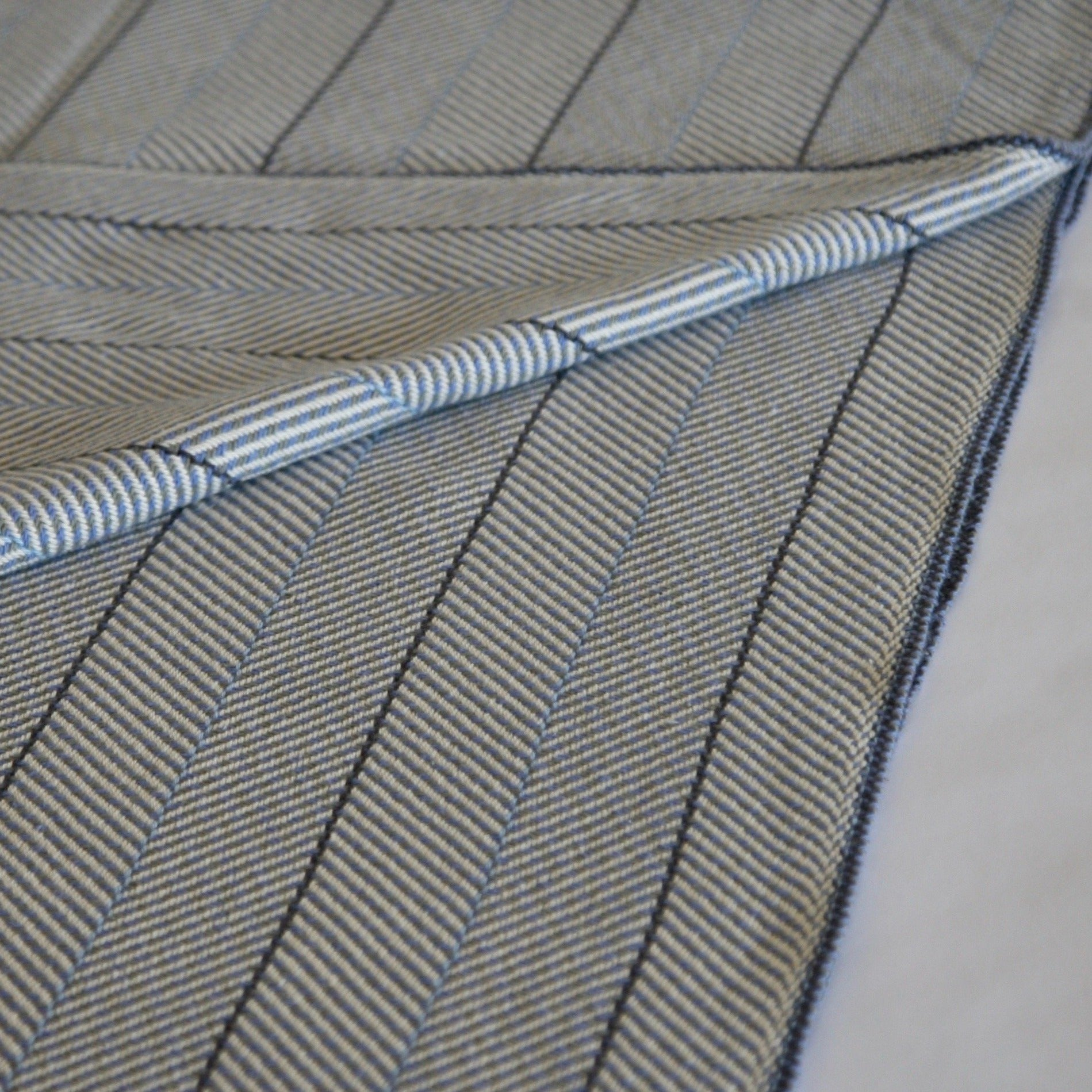 Organic Cotton Blanket - Grey, Light Blue and Periwinkle Herringbone