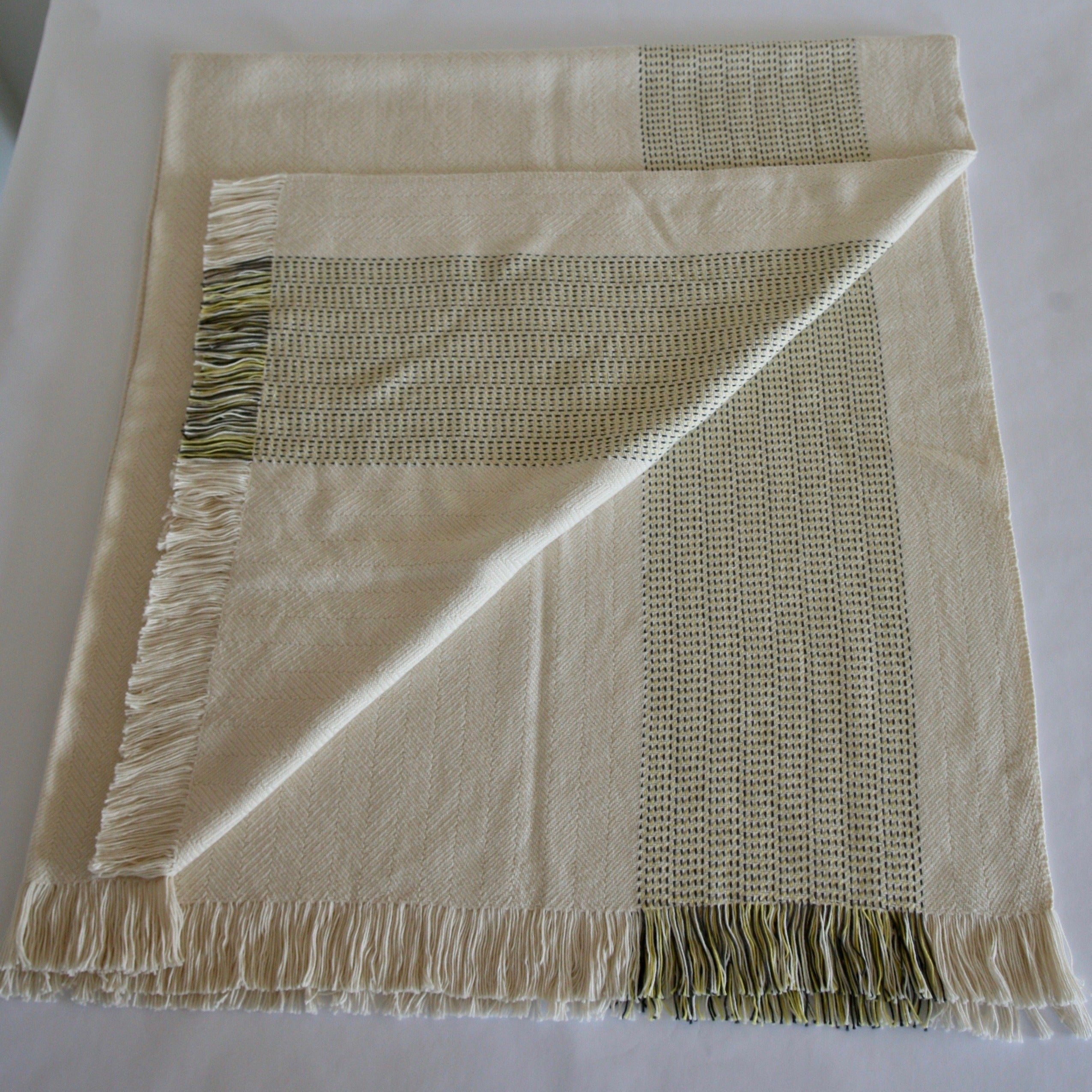 Organic Cotton Blanket- Natural with Lemon Yellow Panels