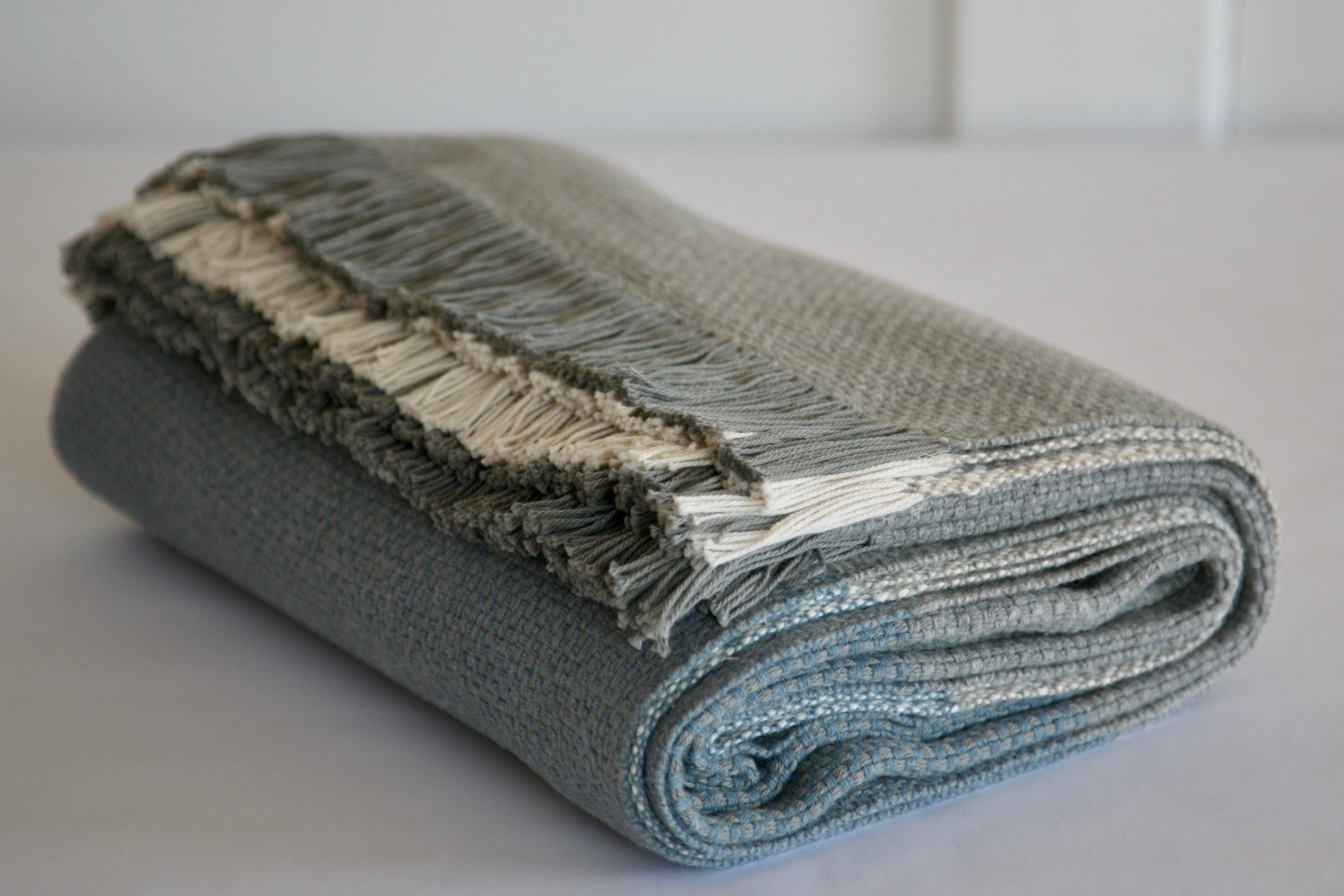 Wool/Cotton Colour Block Basketweave Blanket - Natural, Grey and Blue