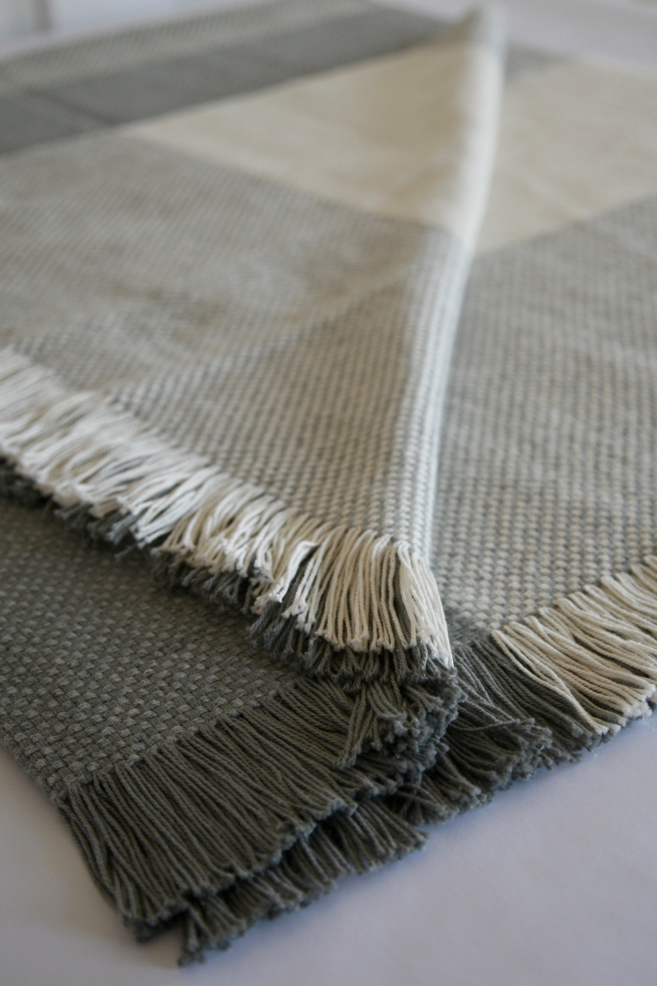 Wool/Cotton Colour Block Basketweave Blanket - Natural and Grey