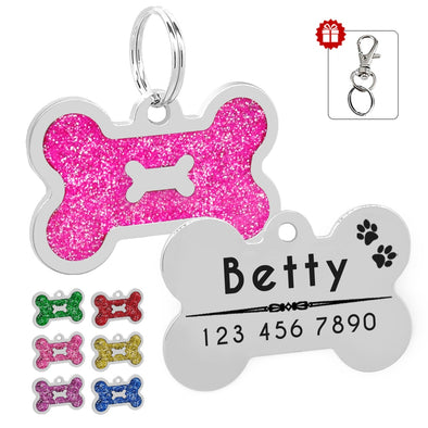 Glitter Personalized Dog ID Bone Tag - Dtesh Shop