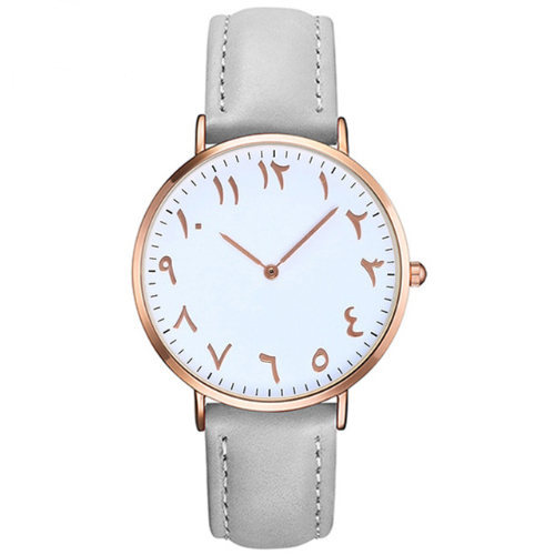 Al Latif - Grey Leather Rose Gold Watch