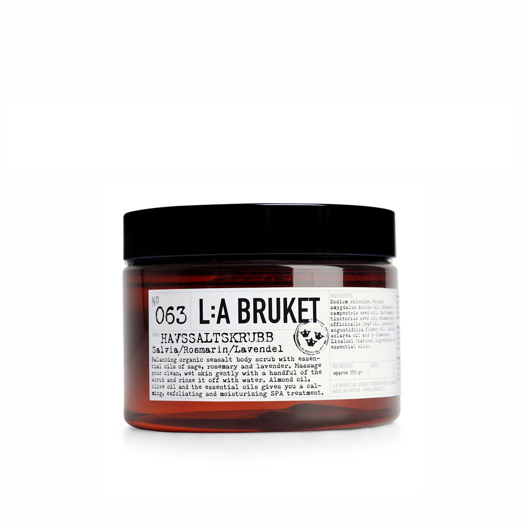 NO. 63 SALT SCRUB SAGE, ROSEMARY, LAVENDER 350 ML | L:A BRUKET | Natürlich, Vegan, Bio, Natural | Online Shop Blanda Beauty