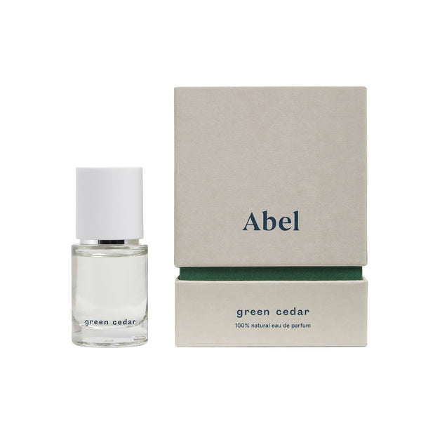 Abel Perfume Green Cedar small bottle with packaging