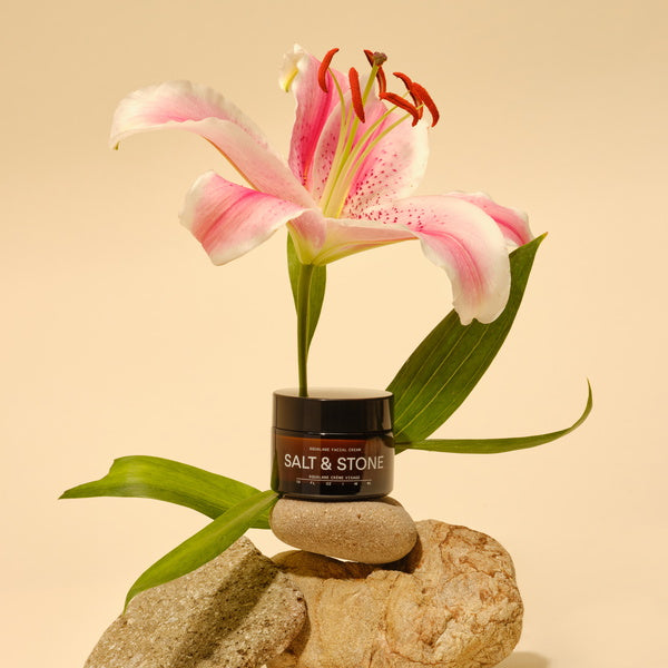 Salt & Stone Squalane Facial Cream - artsy mood with flower and stones