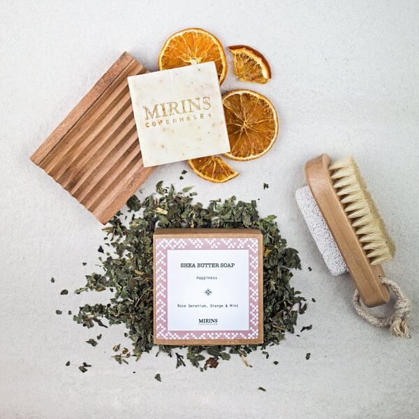 Mirins Copenhagen Shea Butter Soap Happiness - Rose Geranium, Orange & Mint 75 g