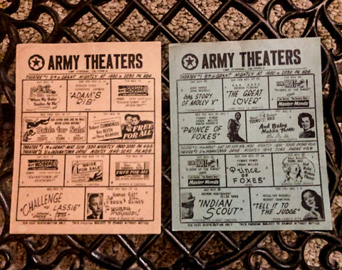 Army Theaters Movie Programs