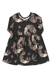 Print Dress Ls Pine Branch