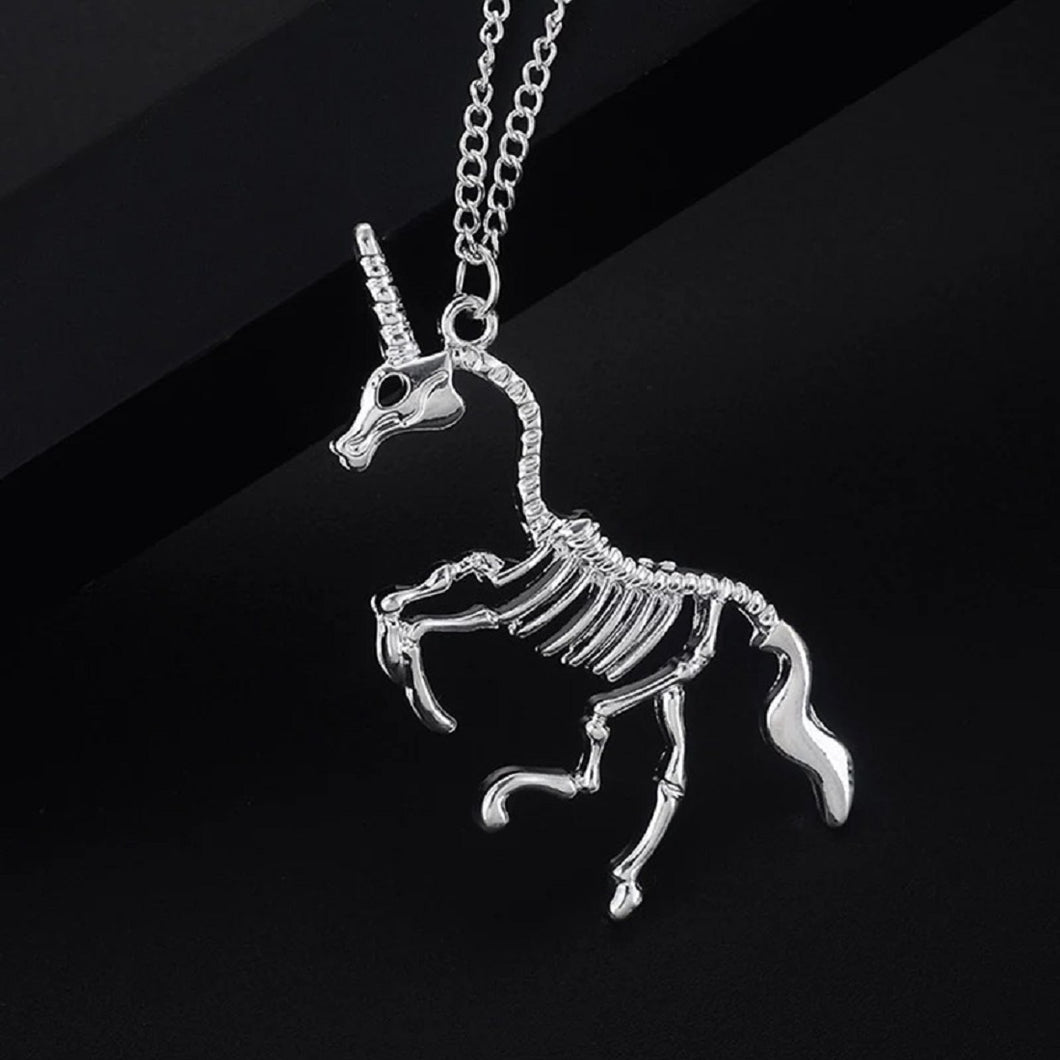 Skeleton Unicorn Necklace