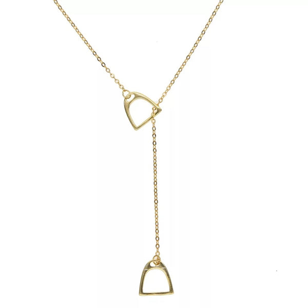 Gold Horsebit Pendant Necklace