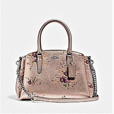 COACH MINI SAGE CARRYALL WITH METALLIC LEATHER FLORAL BUNDLE PRINT F37812