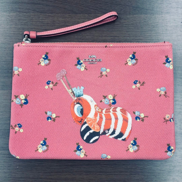 Coach Fisher Price Buzzy Bee Peony Canvas Zip Pouch Wristlet NWT