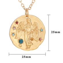 Load image into Gallery viewer, Aquarius Zodiac Charm Pendant Necklace Gold Gemstones