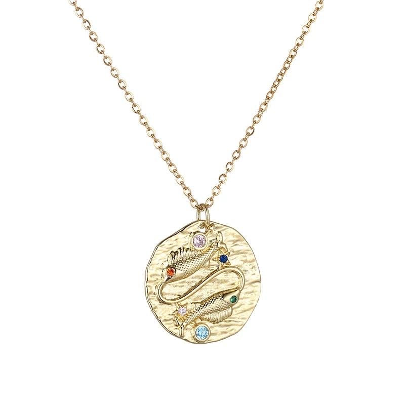 Pisces Zodiac Charm Pendant Necklace Gold Gemstones