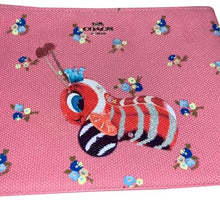 Load image into Gallery viewer, Coach Fisher Price Buzzy Bee Peony Canvas Zip Pouch Wristlet NWT
