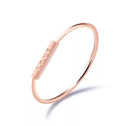 Rose gold LOVE ring
