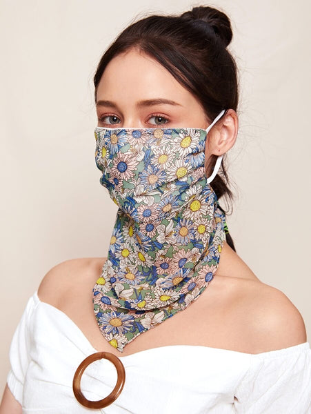 Blue Scarf Face Mask