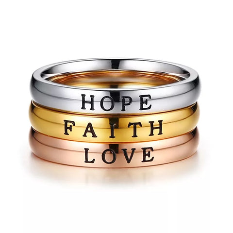 Faith, Hope, Love stacking rings