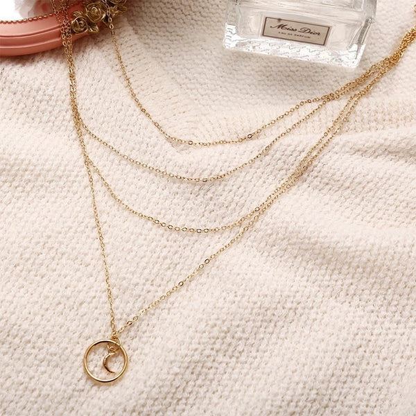 Piper gold moon necklace