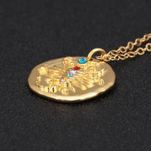 Load image into Gallery viewer, Leo Zodiac Charm Pendant Necklace Gold Gemstones