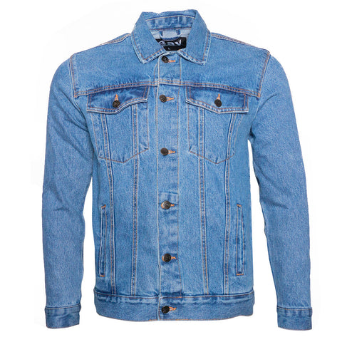 Men's Denim Jean Jacket Button Up Classic Fit Premium Cotton DBFL