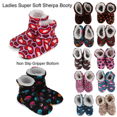 Carnival Ladies Super Soft Non Slip Sole Printed Sherpa Slipper Boots No Size