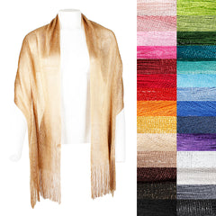 DBFL Ladies Metallic Shimmery Fringed Mesh Evening Scarf