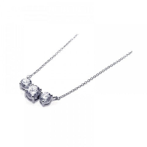 .925 Sterling Silver 3 Clear CZ Pendant Necklace