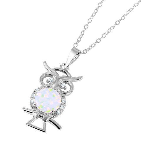 .925 Sterling Silver Nickel Free  Owl with Opal Center Stone Necklace
