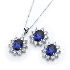 .925 Sterling Silver Clear and Blue CZ Stud Earring and Necklace Set
