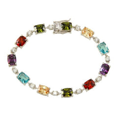 .925 Sterling Silver Clear and Multi-Colored CZ Tennis Bracelet (7