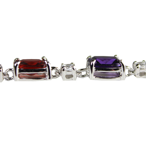".925 Sterling Silver Clear and Multi-Colored CZ Tennis Bracelet (7"")"