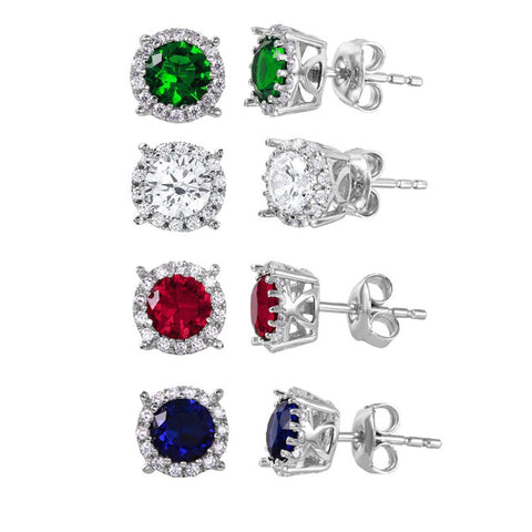 .925 Sterling Silver Halo Studs with CZ Stone