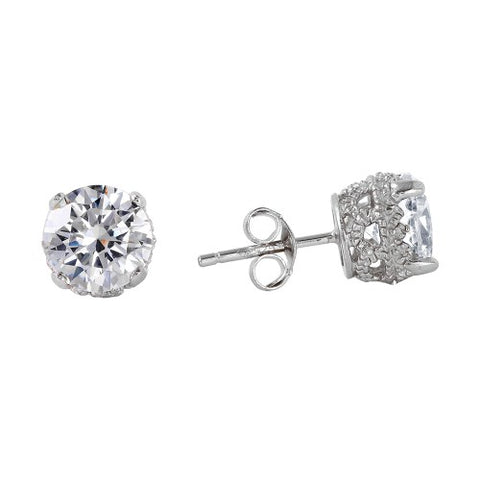 .925 Sterling Silver Round Clear CZ Stud Earrings w/ CZ Bezel