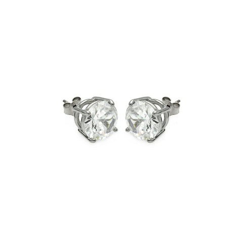 Brilliant Cubic Zirconia CZ Stud earrings .925 Sterling Silver Rhodium Plated