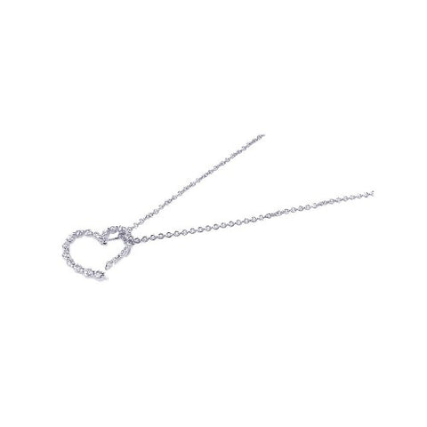 .925 Sterling Silver Clear CZ Heart Pendant Necklace