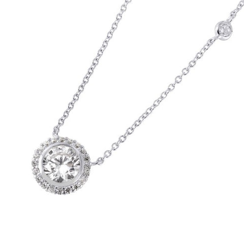 .925 Sterling Silver Round Cluster CZ Pendant Necklace�