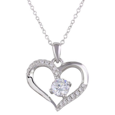 .925 Sterling Silver Open Heart CZ Pendant Necklace