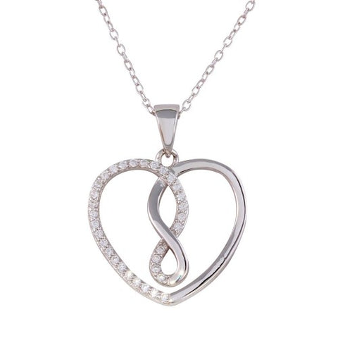 .925 Sterling Silver Open Heart Infinity CZ Pendant Necklace