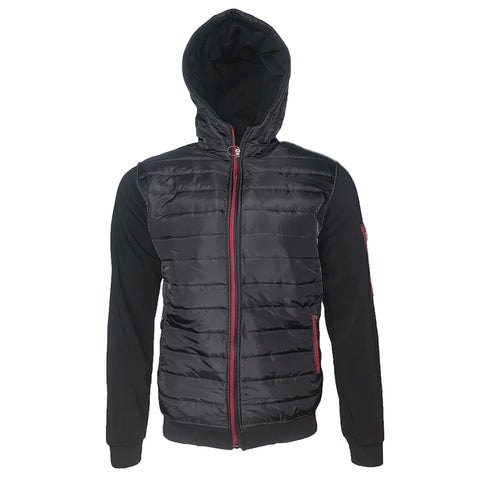 Mens Puffer Zipper Jacket Warm Fleece Lining Sweatshirt Quilted Hoodie