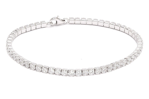 .925 Sterling Silver Brilliant 3 mm Round Cubic Zirconia Tennis Bracelet