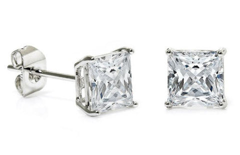 14K Gold Princess Cut CZ Stud Earrings in Basket Setting