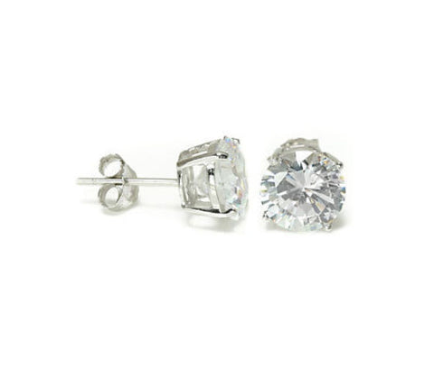 14K Gold Cubic Zirconia Round or Square CZ Stud in Basket Setting