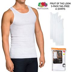 Fruit of The Loom Men's 3 Pack Dual Defense Tag-Free Finished Hem A Shirts