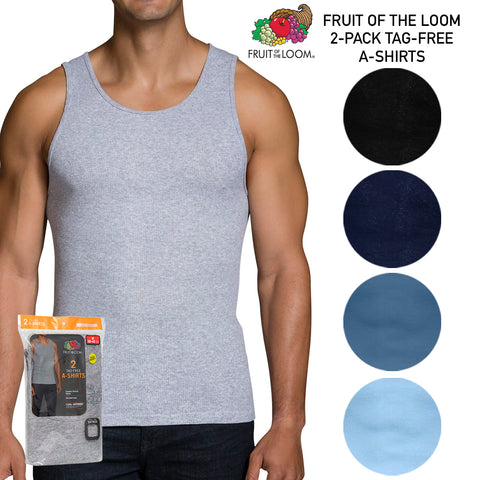 Fruit of The Loom Men's 2 Pack Dual Defense Finished Hem Tagless A Shirts