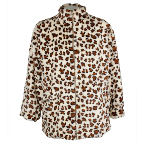 Janice Apparel Women's Faux Fur Animal Print Cheetah Tiger Zip Up Jacket