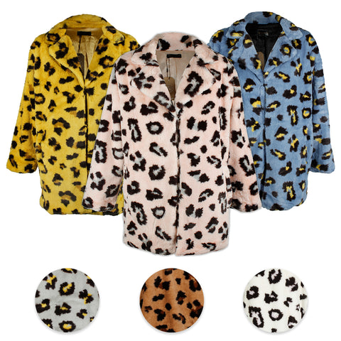 Janice Apparel Women's Faux Fur Animal Print Leopard Notch Collar Jacket No Size