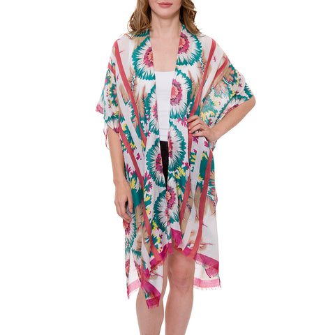 Women's Kimono Summer Floral Print Super Light Long Top Cover Beachwear Dress
