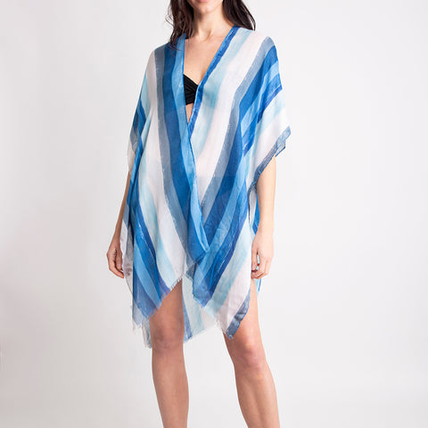 Women's Kimono Summer Striped Print Lightweight Long Top Cover Beachwear Dress