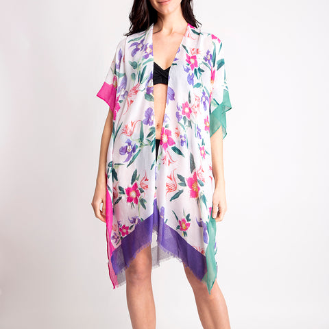 Women's Kimono Summer Floral Print Lightweight Long Top Cover Beachwear Dress